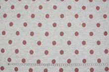 Teplákovina šedé melé s plyšem, pudrový puntík, š.150