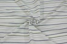 Košeľovina biela, modrožltý pruh, š.155