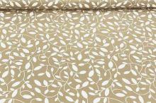 Dekoračná látka s teflónovou úpravou hnedá, biele listy, š.160