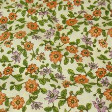 Bavlna smotanová, oranžové kvety, š.140