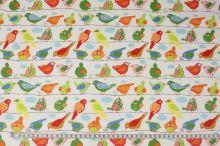 Bavlna bílá, motiv barevní ptáci, š.140