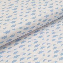 Bavlnené plátno biele, modré oblaky, š.140