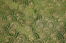 Taft zelený, zlatý tisk š.145