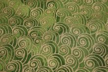 Taft zelený, zlatý tlač š.145