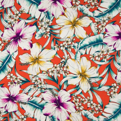 Šatovka 21647 terakotová, barevné ibiškové květy, š.140