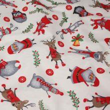Vánoční dekorační látka bíločervená, š.140