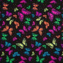 Úplet čierny, neónový motýle, š.150