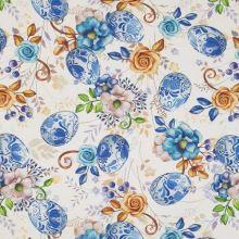 Dekoračná látka biela, veľkonočný motív, modrobiela vajíčka, kvety, š.140