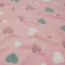 Fleece růžový, barevná srdíčka, š.145