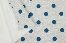 Teplákovina počesaná šedé melé s plyšom, modré bodky, š.150