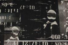 Elastický tyl čierny, hnedý vzor s číslami, š.155