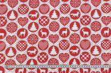 Bavlněné plátno bílé, červený vánoční motiv, š.160