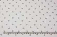 Bavlna bílá, šedá srdíčka, š.160