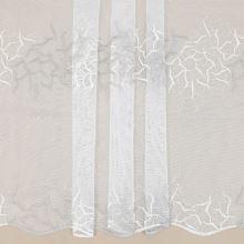 Záclona bílá, béžovo-šampáň vyšívaná bordura, v.145cm