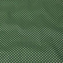 Bavlna tmavě zelená, drobný bílý puntík, š.140