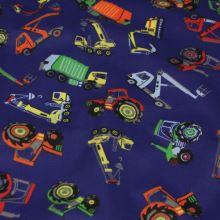 Bavlna modrá, auta, bagry a traktory, š.140