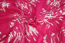 Košilovina růžová, bílá výšivka, š.140
