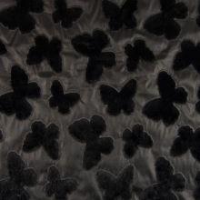 Koženka čierna, čierny plyšový motýľ, š.130 / 140