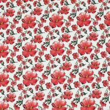 Bavlna biela, červené kvety, š.145