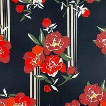 Úplet černý, červený květ, raport, š.145