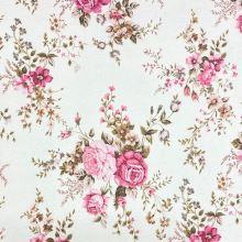 Dekoračná látka P0544 biela, ružové kvety, š.140