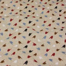Bavlněné plátno režné, barevní ptáčci, š.140