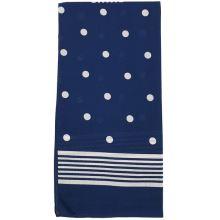 Dámska šatka modrá, biele bodky, 70x70cm