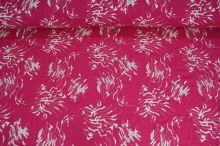 Košeľovina ružová, biela výšivka, š.140
