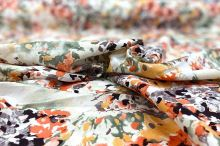 Lněná kostýmovka, barevný květinový vzor, š.135