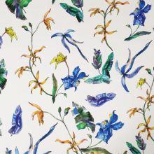 Bavlna bílá, žluté a modré květy, š.145
