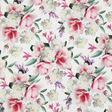 Úplet A0047 bílý, barevné květy, š.175