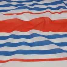 Tkanina oranžovo-modré pruhy, š.150