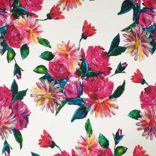 Bavlna bílá, velké růžové květy, š.145