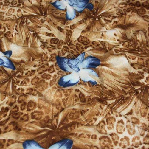 Úplet hnědý, modrý květ, š.140