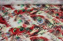 Bavlna farebná pávie perá, zelená, š.150