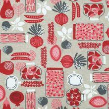Dekoračná látka, červeno-biely vzor, š.140