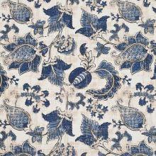 Dekorační látka krémová, modrý kašmírový květ, š.140