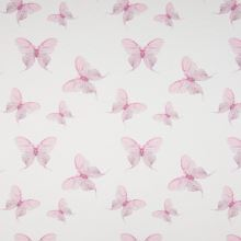 Úplet 21778 biely, ružové motýle, š.145