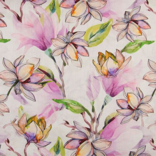 Ľan biely, farebné kvety magnólie, š.135