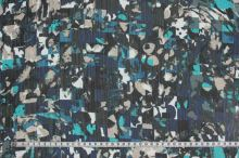 Šifon modrý, barevný vzor, š.150