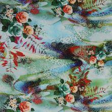 Satén zeleno-modrý, vzor 3 ruže, š.145