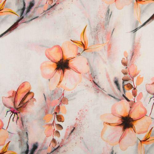 Len bílý, oranžové květy a listy, š.135