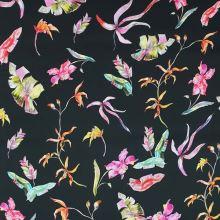 Bavlna černá, růžové a žluté květy, š.145