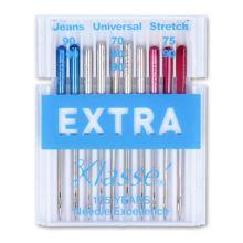 Jehly strojové EXTRA 130/705 H assort, mix. jeans, universal, strech, 10 ks