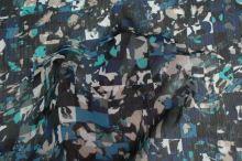 Šifón modrý, farebný vzor, š.150
