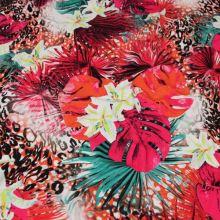 Úplet barevný, květinový vzor a zvířecí motiv, š.150