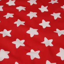 Bavlna červená, biele hviezdy, š.140
