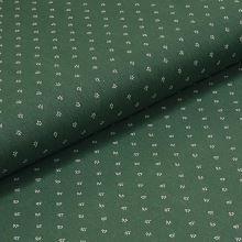 Bavlněné plátno zelené, bílý drobný vzor, š.140