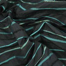 Taft čierny s prúžkami, tyrkys a lurex š.145