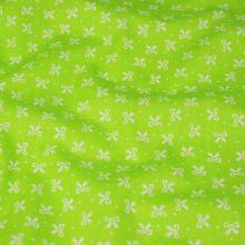 Bavlněné plátno žlutozelené, bílé mašličky, š.140